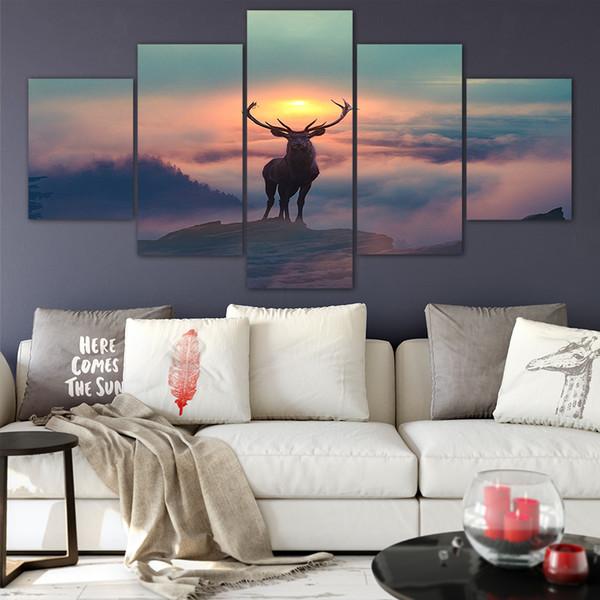 Toile Posters Décor À La Maison Mur Art Cadre 5 Pièces Peintures De Cerfs Pour Le Salon HD Prints Moderne Photos D'animaux