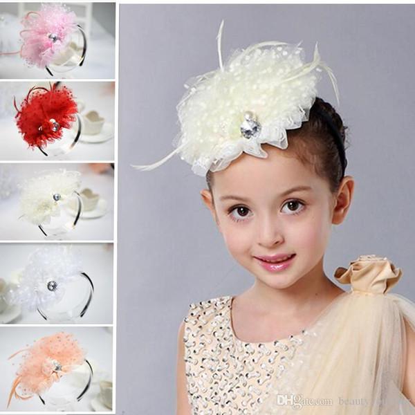 new Fashion Girls Lace pearl hair accessories kids baby flower hair sticks headband hair Bows loop