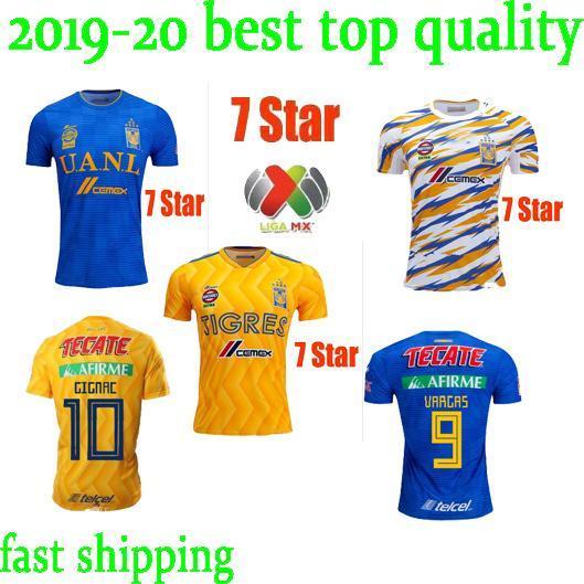 newest 7 Star 2019 NAUL Tigres Soccer Jerseys 18 19 20 Camiseta de Foot Maillot Third Soccer Jersey GIGNAC Kit 2020 Liga MX Football Shirts