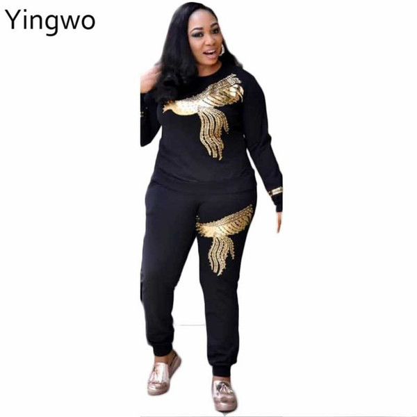 Burgundy/Black/Light Blue New Spring Fashion Woman Set Two Pieces Casual O Neck Gold Sequin Pearls Phoenix Pattern Pants Suit