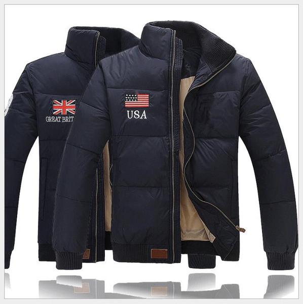 2019 USA UK Flagge Werkzeugmarke Markenpolo Winter Designer Herren Daunenjacke Youth casual Paul Herren dicke kurze europäische Version der Jacke