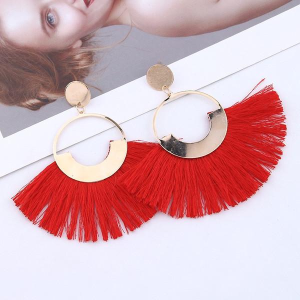 New Design Women Tassels Earrings 2019 Brincos Boho Statement Fringe Earings Metal Fan Shape Dangle Earring Modern Jewelry Gift