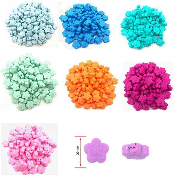 Perle di macinazione del silicone di esportazione a caldo europeo per bambini molari Massaggiagengive Accessori per bambini di moda 7 colori 20mm 0 ~ 8 età silicone alimentare