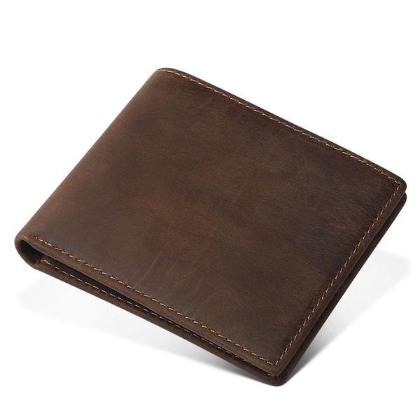 Vejiery Men Wallet Short Genuine Crazy Horse Cowhide Leather Purse Small Vintage Wallets Male Clutch Leather Wallet Mens Y19052701