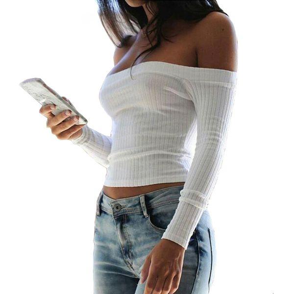 T Shirt Womens Clothing Sexy Slash Neck Long Sleeve Knitting Cotton For Short Women 2019 Off Shoulder Slim Spring White T Shirts