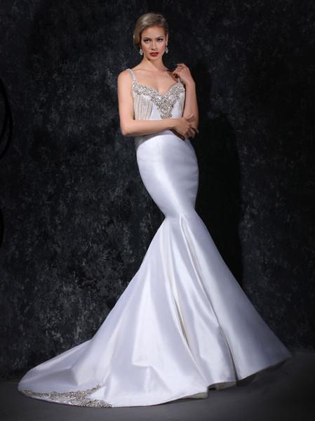 Vintage White Satin Mermaid Wedding Dresses 2019 Crystal Rhinestones Beaded Wedding Dress With Sweetheart Neck Sheer Back Bridal Gowns