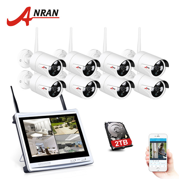 """ANRAN 8CH 2MP P2P WIFI Security Camera System 12"""" LCD Monitor Wifi DVR Kit Email Alert Vedio Surveillance CCTV Security System"""