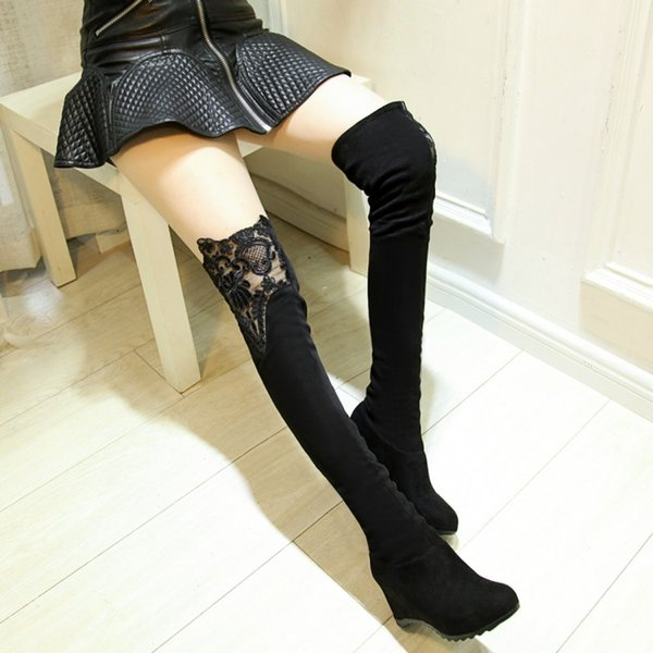 2016 boots round toe high-heeled shoes elevator over-the-knee boots wedges lace elastic stovepipe plus size