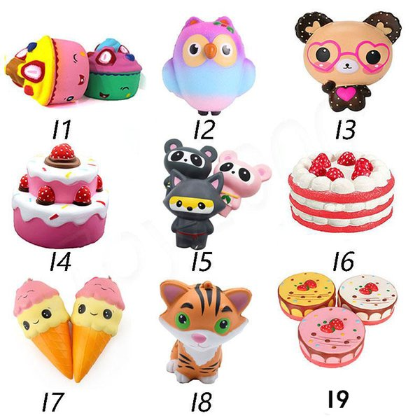 Hot Squishy Toys squishies Rabbit monkey owl panda pineapple mouse cake mermaid Slow Rising Squeeze Cute Cell Phone Strap gift for kid toys