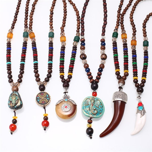 best selling Luxury Long natural stone Men's Black skull Triangle Pendants Beads Necklace Jewelry XU LIN FJ DD-16