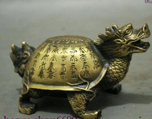 Arcaico viejo chino fengshui bronce longevidad 100 shouzi Dragon Turtle estatua metal artesanía