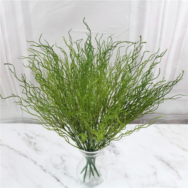 5 Pcs Artificial Leaves Green Plant Plastic Grass Bush Dragon Willow Branch European Style Dry Fake Flower Home Decor