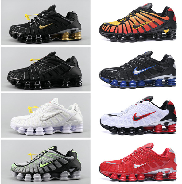 2019 Men'SNikeShox TL 1308 Running Shoes 2019 Metallic Silver VapormaxShock Knit Sliver Sport Sneakers Classic Fashion Shoes From Famous_footwear,