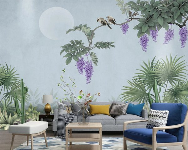 Customized modern wallpaper new Chinese hand-painted wisteria flowers birds background decorative painting wall paper