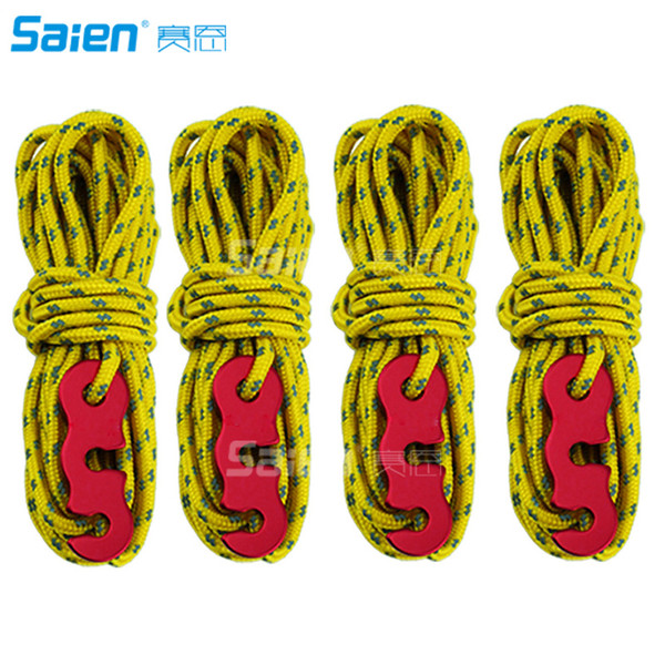 Reflective Nylon Cord, Tent Guyline Rope with Aluminum Adjuster(13 Feet,4 Pack) for Camping Tent, Outdoor Packaging