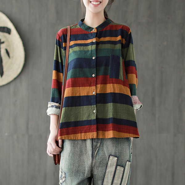Designer Womens Blouses Striped Women Shirts Casual Cotton Linen Blouses 2019 Autumn New Sweet Tops Long Sleeve Button Women Shirts