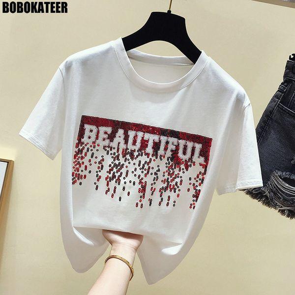 Bobokateer Cotton White T Women Tops Vintage Summer Top Female T-shirt Short Sleeve Sequin Black Tee Shirt Femme New Q190524