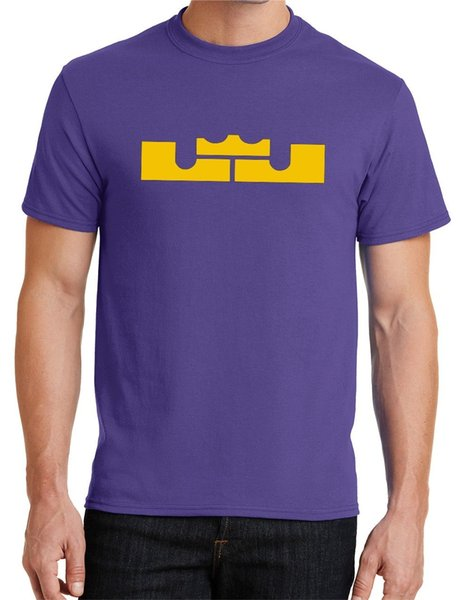 watch 090f1 f372b New Mens LJ Crown T Shirt Lebron James LA Lakers Purple Yellow Los Angeles  Funny Unisex Tee Cool Shirts Designs Pt Shirts From Stshirt, $10.28| ...