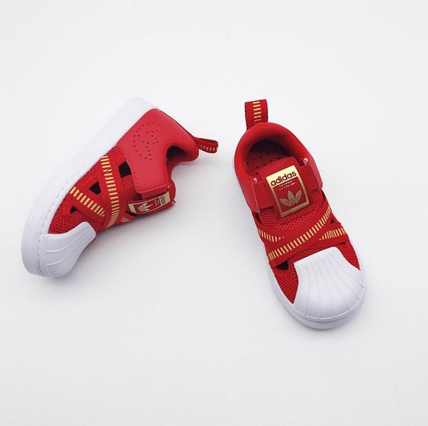 Kinder Designer Schuhe Gelb Grau Rot Blau Rosa 2019 Neue Casual Fashion Sandalen Luxus Sandale Trend Muster Teens Boy Girls 6 Styles