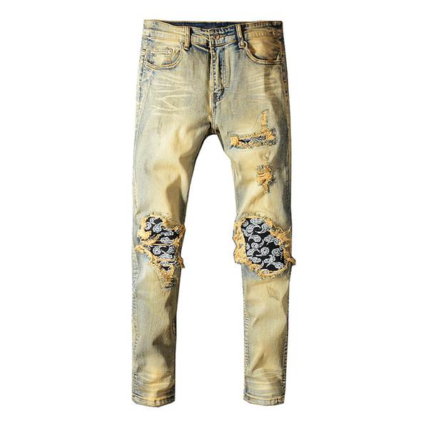 Mens Biker Skinny Jeans Stretch Slim Fit Ripped Denim Trousers Pants Waist 28-40