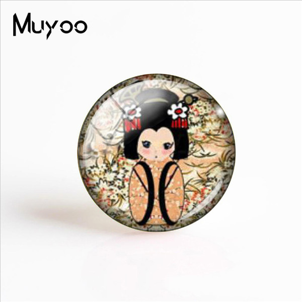 2019 Nouveau Kimono Poupée En Verre Photo Cabochon 25mm Poupées Japonaises De Mode Artisanat Bijoux Art Photo Cabochon Cadeaux Femmes