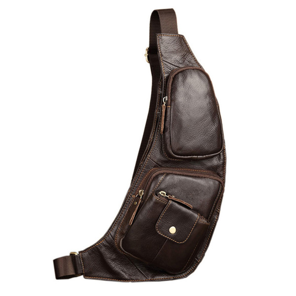 Men's Vintage Genuine Leather Sling Chest Bag Cross Body Messenger Casual Shoulder Bag Military Travel Riding Hiking Motorcycle Y190701
