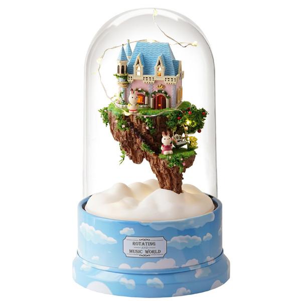 DIY house cabin Rotating music Artesanato modelo de montagem Criativa casa de bonecas De Madeira em miniatura carrossel caixa de música brinquedos para crianças