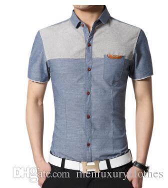 Summer Denim Blue Casual Shirts Mode Hommes Mâle Vêtements Tops À Manches Courtes Chemises simple