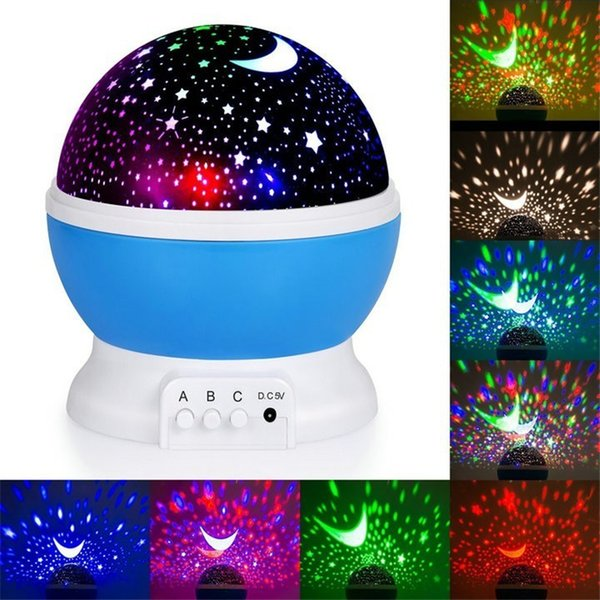 Vivero del proyector ligero de la estrella cielo de la luna giratoria con pilas del dormitorio de la lámpara de noche para niños de los niños del bebé Dormitorio