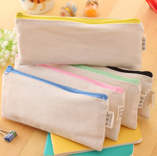 top popular DIY 20.5*8.5cm White Canvas Blank Plain Zipper Pencil Pen Bags Stationery Cases Clutch Organizer Bag Gift Storage Pouch 2020