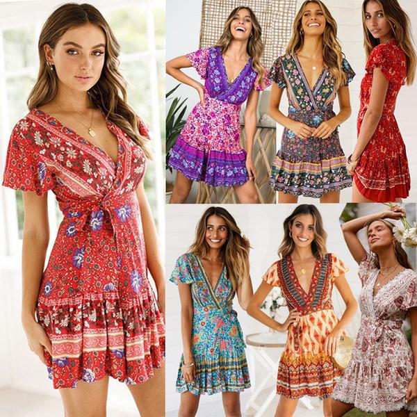 Plus Size Dress 2019 Bohemian Style Summer Beach Tunic Dress Short Sleeve  Print A Line Lady Dresses 2019 Casual Dresses Cute Dresses From ...