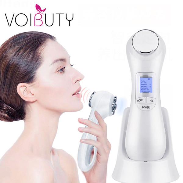 5 en 1 LED RF Terapia de fotones levantamiento de la piel facial rejuvenecimiento de la vibración del dispositivo de la máquina ccsme Ion microcorriente mesoterapia Massager
