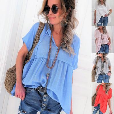 Fold v-neck fashion womens blouses shirts short sleeve tops tees summer new design size S-5XL