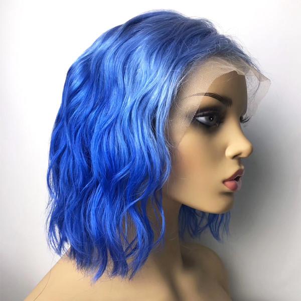 Perruques de cheveux humains brésiliens avant de lacet court pour les femmes noires colorées Bleu vague naturelle Bob Full Lace perruques avec pré cheveux plumés