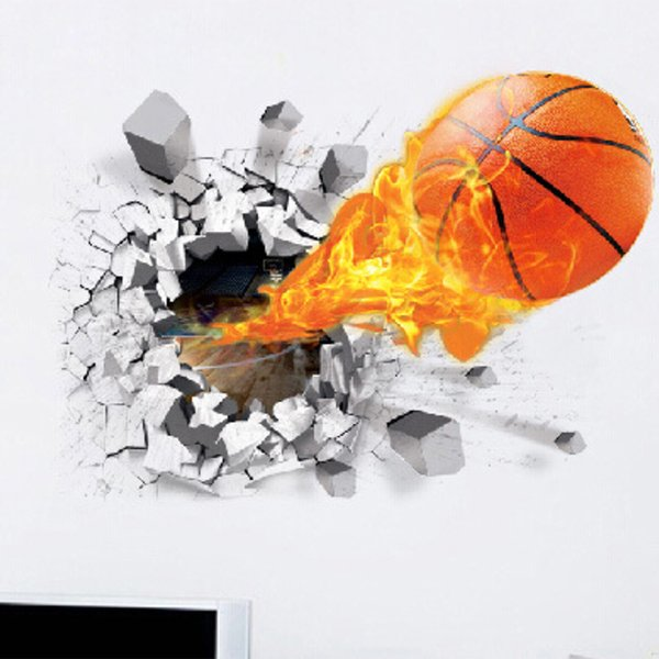 New creative sports decorative painting basketball broken wall football rugby stickers children's room bedroom wall stickers self-adhesive