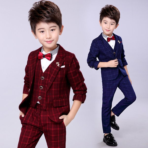 child Costumes for prom High Quality Kid Vest Jacket Pant Clothes Blazers Set Dark Blue Gray Wine wedding flower boy dress
