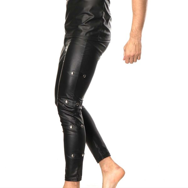 New 2019 Mens Faux Patent Leather Pants Nightclub Stage Skinny Performance Pants Stretch Leggings Men Sexy Bodywear Trousers