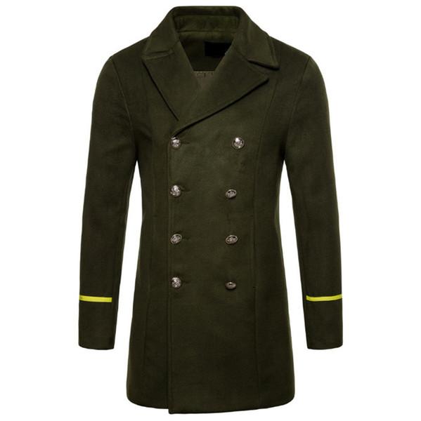 New Male Overcoat Europe/US Size Boutique Wool Coat Men Autumn Black Windbreaker Jacket Pea Coat Winter Thicken Long Woolen