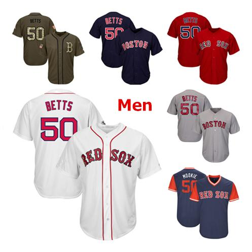 huge discount 2215d 42f3d 2019 Mens Boston Red Sox 50 Baseball Jerseys Mookie Betts Red White Navy  Gray Grey Jersey Green Salute Players Weekend All Star From Jerseys4all, ...