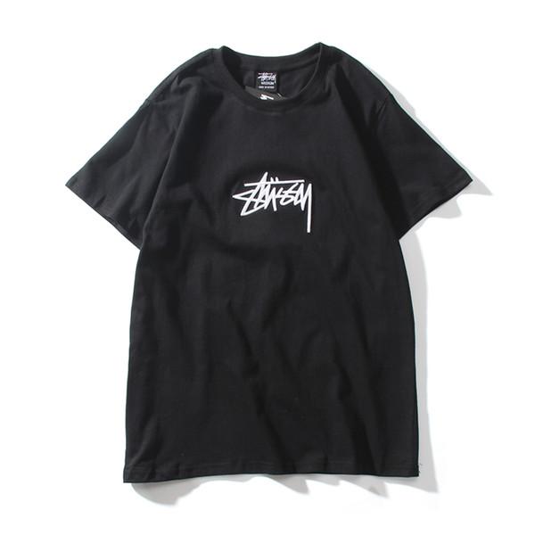 830, carta de impressão em bordados, camiseta selvagem, camiseta de gola redonda, homens e mulheres com mangas curtas