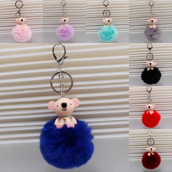 Boule fausse fourrure mignonne koala porte-clés pom pom porte-clés nouveauté animaux porte-clés porte-clés de voiture femmes sac à main pendentif fille cadeau de noël D851L F
