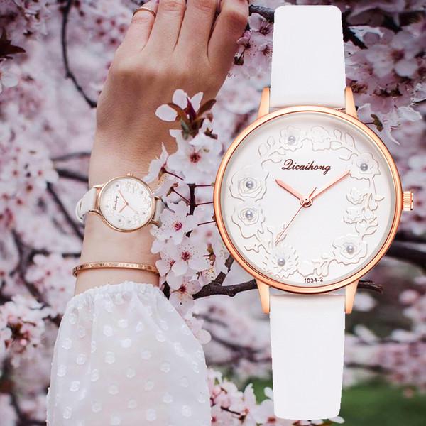 Embossed Flower Watches Women Pearls Macaron Leather Creative Dress Quartz Clock Ladies Bracelet Wrist Watch Reloj Mujer Relogio