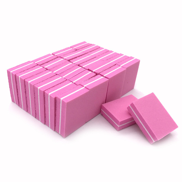 JEARLYU 20pcs/lot Nail File 100/180 Double-sided Mini Nail Files Block Pink Sponge Art Sanding Buffer File Manicure Tools