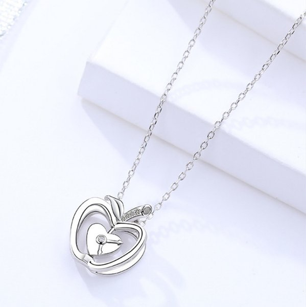 girl's jewelry 925 silver necklaces fruits apple clock heart love pendants crystal for lover fashion short thin chains wholesales price 6 pc
