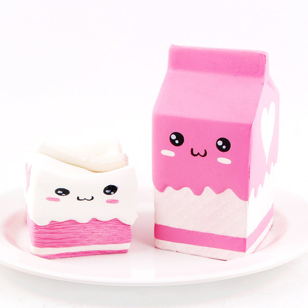 2018 Squishy Milk Box Antistress Toys Kawaii Stress Relief Cute Funny Milk Box Squeeze Entertainment Gadget Kids Novelty Gift