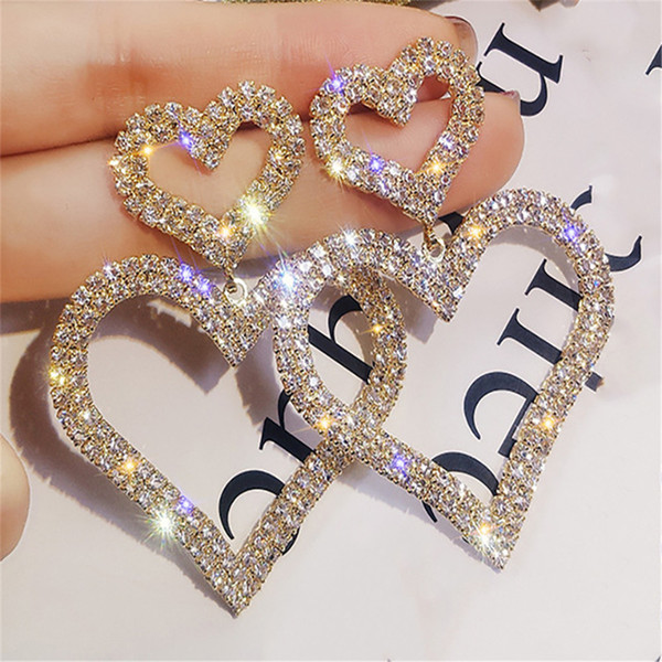 top popular Special Price Fashion Exaggerated Crystal Double Heart Earrings Contracted Joker Long Women Drop Earrings Jewelry Gifts 2021