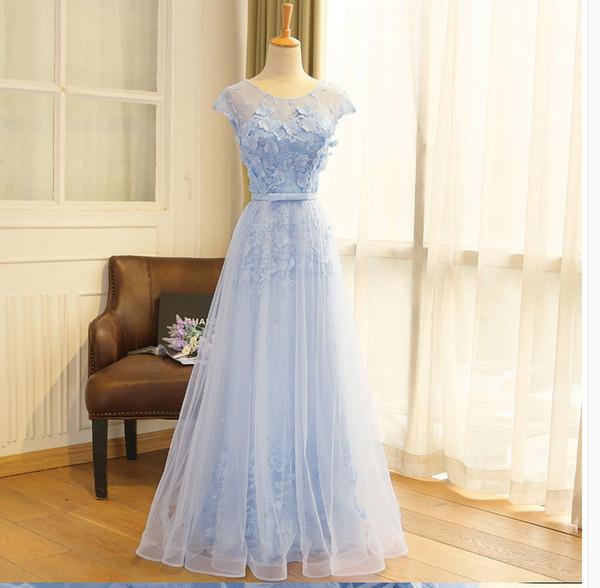28872bc65 2018 Nuevo otoño estilo largo hermana azul vestidos de dama de honor con  encaje delgado hueca