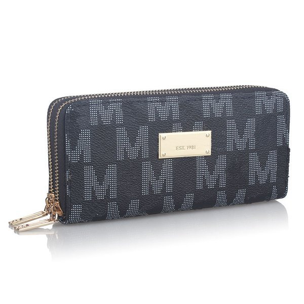 Luxury Designer Brand Men Wallets Coin Purse Women Double Zipper PU leather Wallets Clutch Money Phone Handbags Card Holder Pockets B61303