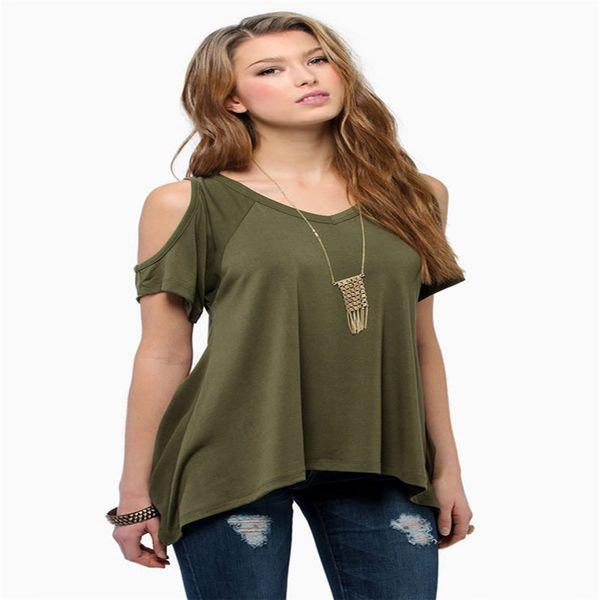 European and American style V-neck strapless short-sleeved fishtail irregular hem ladies light cooked hood short-sleeved T-shirt solid color