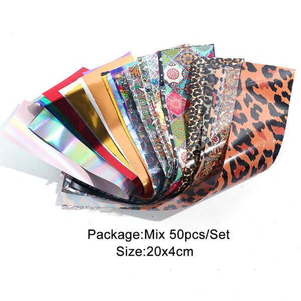Mélanger 50pcs / set imprimé léopard ongles autocollants autocollants holographiques Foils ongles transfert Sliders papier Wraps Set Décor design mixte Manucure